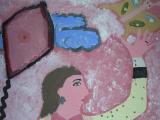<h5>Aquilone </h5><p>L'immagine è un dettaglio della silhouette della ragazza,  ottenuta attraverso la traccia del proprio corpo </p>