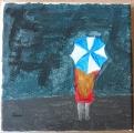 <h5>ragazza sotto la pioggia</h5><p>acrilico su tela</p>