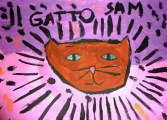 <h5>il gatto Sam</h5><p>tempera su carta</p>